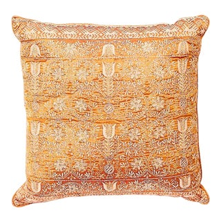 Embroidered Handwoven Silk Pillow For Sale