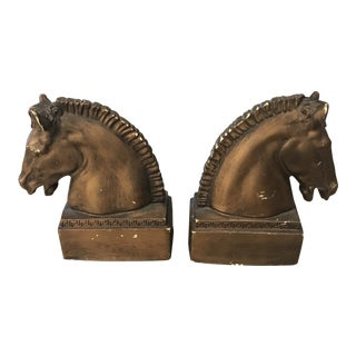 1950s Hollywood Regency Trojan Horse Bookends - a Pair For Sale