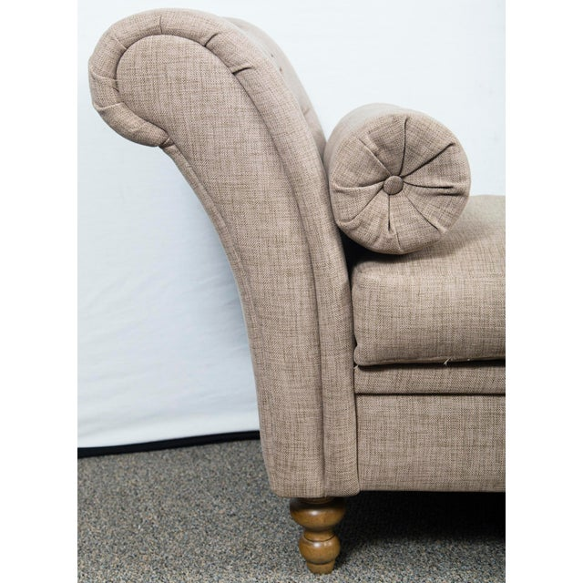 Custom Upholstered Bench With Tufted Rolled Arms For Sale - Image 4 of 7