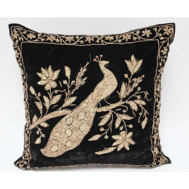 English Black Velvet Throw Pillow Embroidered with Metallic Moorish Gold Threads For Sale - Image 3 of 11