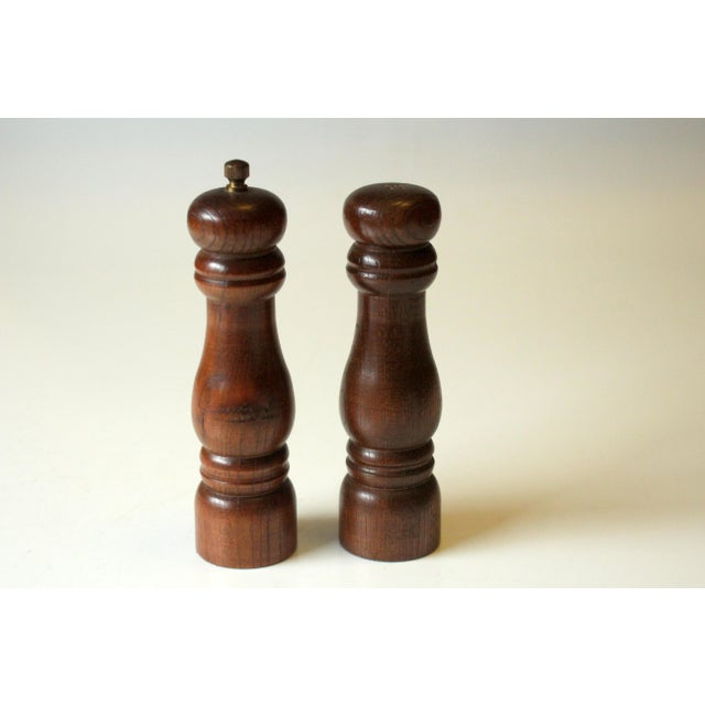 Vintage 1970s Wood and Metal Salt and Pepper Shakers For Sale - Image 6 of 6