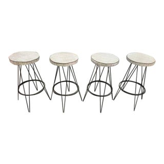 Mid-Century Vintage Frederick Weinberg Style Bar Stools - Set of 4 For Sale