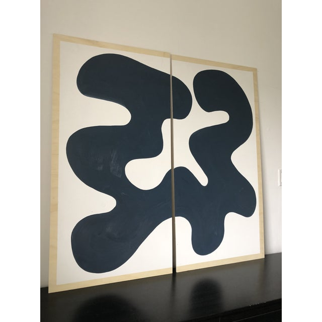 Navy and White Abstract Diptych on Wood For Sale - Image 4 of 11