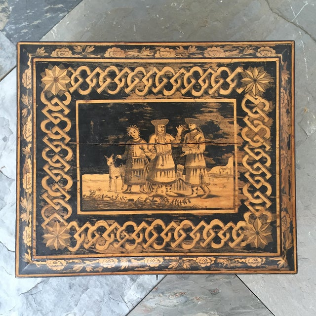 19th Century English Pen-Work Decorated Box For Sale - Image 4 of 6