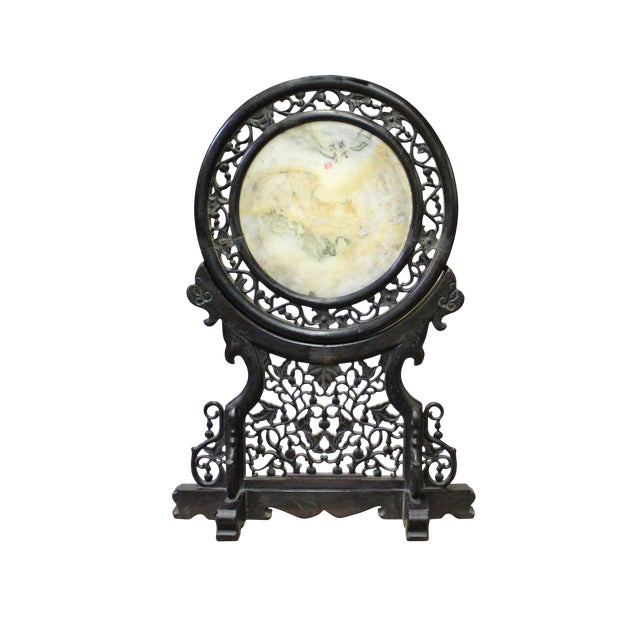 Chinese Dream Stone Fengshui Round Table Top Display Art For Sale