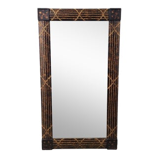 Large Maitland-Smith Faux Tortoise Shell Painted Incised Gilt Floor ~ Hanging Mirror 40 X 72 For Sale