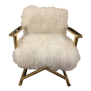 Directors Chair in Brass With Ivory Sheepskin For Sale