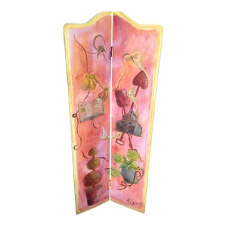 Custom Terra Cotta Botanical Hand Painted Wood Folding Screen For Sale