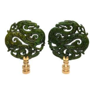 Chinoiserie Dragons Dark Green Lamp Finials - A Pair For Sale
