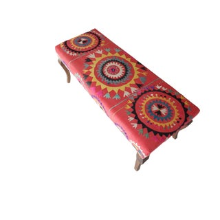 Suzani Covered Bench Handmade Ottoman From Anatolian For Sale