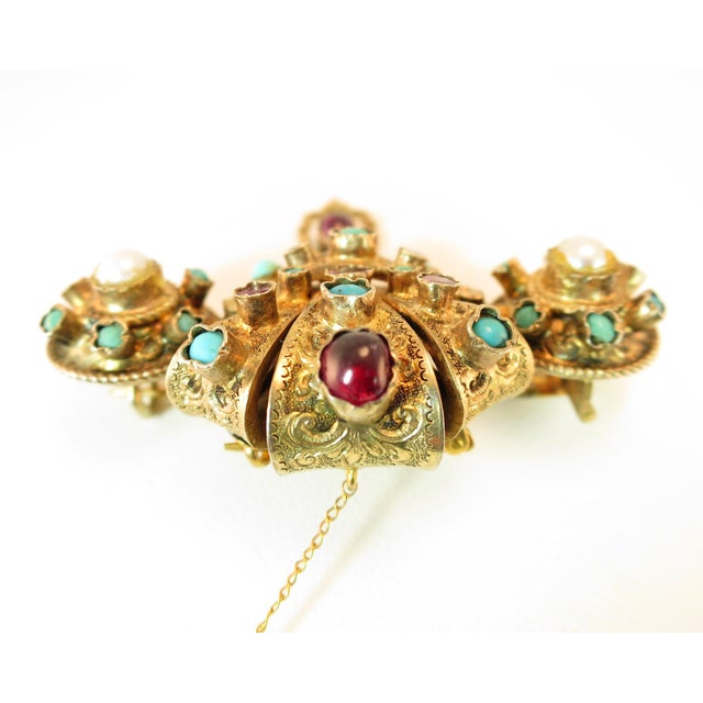 Gold Georgian Baroque Brooch 10k Gold Amethyst Turquoise Pearls Circa 1840 For Sale - Image 8 of 12