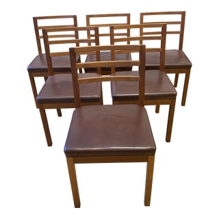 Speke Klein Ideal Cherry Wood + Leather Side Chairs - Set of 6 For Sale