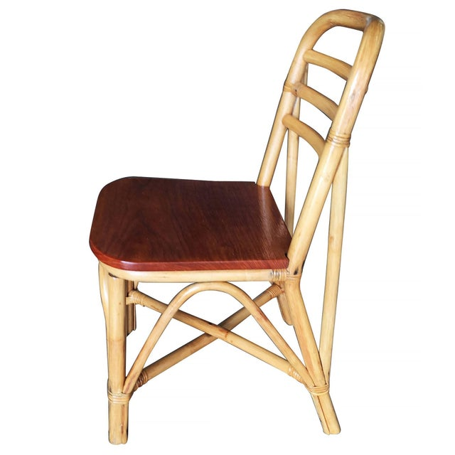 Mahogany Restored Mid Century Rattan Dining Side Chair With Mahogany Seat, Set of Six For Sale - Image 7 of 8