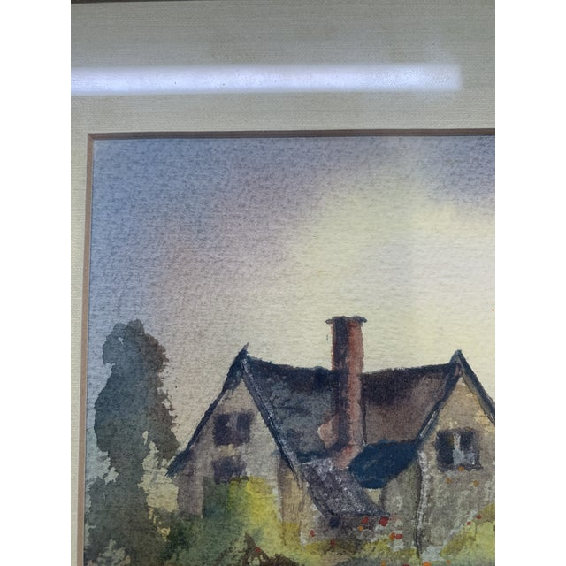 1970s A. F. White Original English Cottage Watercolor Painting, Framed For Sale - Image 5 of 7