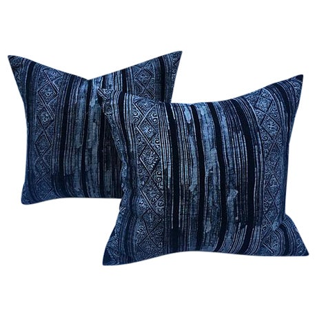 Indigo Linen Batik Pillows - A Pair - Image 1 of 5