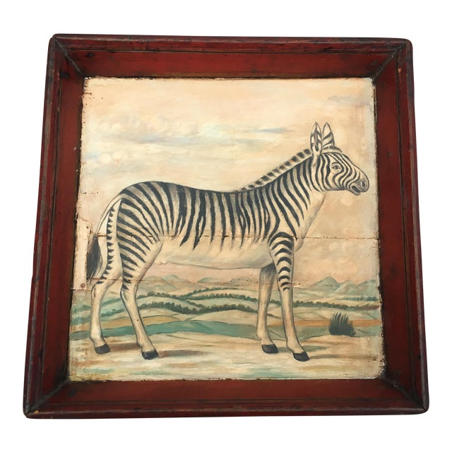 Antique Zebra Painted Wooden Tray For Sale