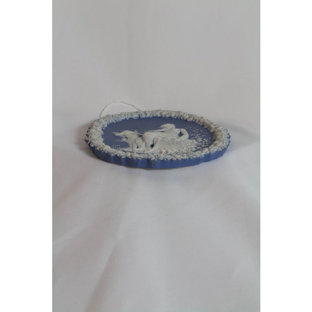 Traditional Oval Blue and White Jasperware Plaque For Sale - Image 4 of 6