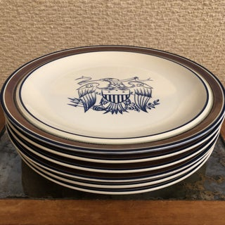 Early 20th Century Salem Stoneware Eagle Dinner Plates - Set of 6 Preview
