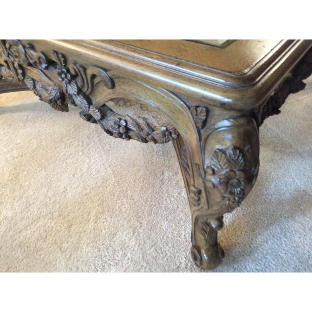 Hand Carved Traditional Glass Top Coffee Table - Image 3 of 7
