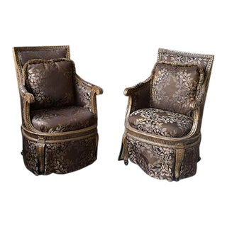 Transitioanl French Silk Hand Carved Chairs - a Pair For Sale