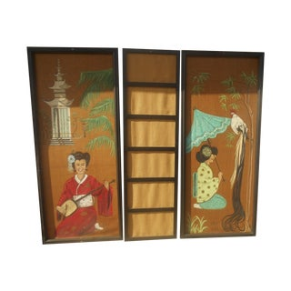 Vintage Hand-Painted Oriental 3 Panel Wall Mural For Sale