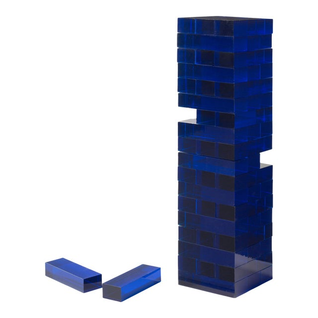 Blue Acrylic Tumble Tower Set in Clear Case with Handle For Sale