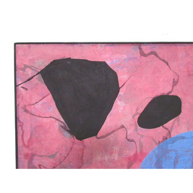 1980s Abstract Modernist Painting by French Artist Jeanick Bouys For Sale - Image 5 of 10
