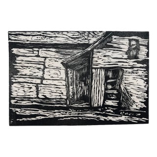 Log Cabin Woodcut by Roy Charles Fox 1940s For Sale
