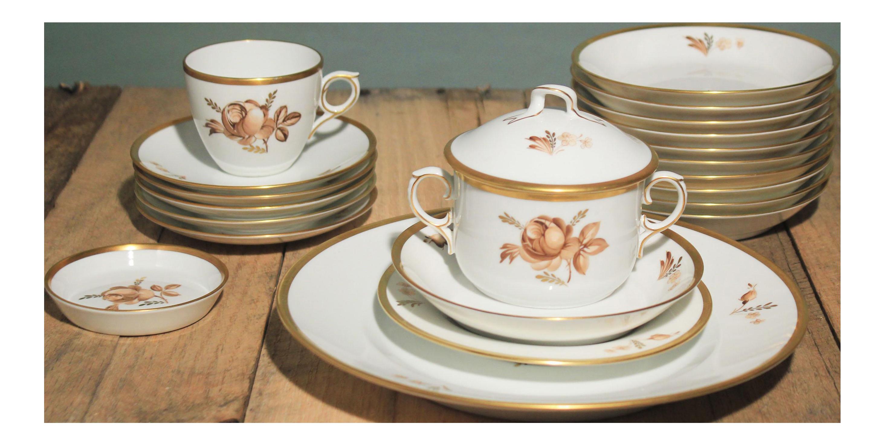 Vintage Royal Copenhagen Porcelain Rose \u0026 Gold Dinnerware  sc 1 st  Chairish & Vintage Royal Copenhagen Porcelain Rose \u0026 Gold Dinnerware | Chairish
