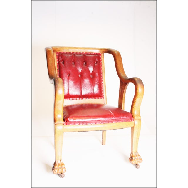 Animal Skin Vintage Wood & Red Leather Gentleman's Chair For Sale - Image 7 of 11