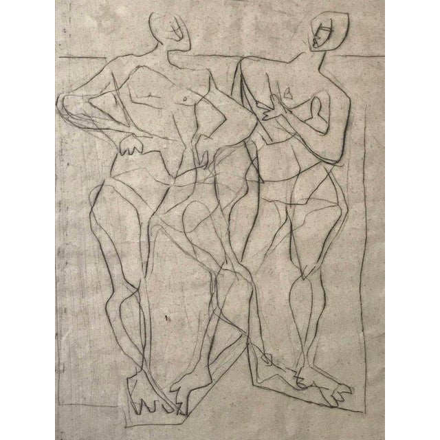 Pair Abstract figural etchings in original white linen, glass, and wood frame by Eduard Bargheer, Germany c.1948....