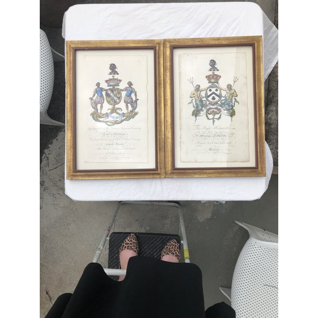 Framed Antique Engravings of Francis Seymour-Conway and George Lytteltons' Coat of Arms - a Pair For Sale - Image 13 of 13
