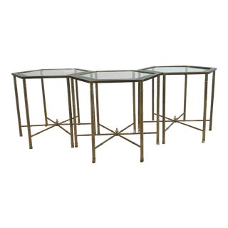 Hollywood Regency Mastercraft Coffee Brass Tables - Set of 3 For Sale
