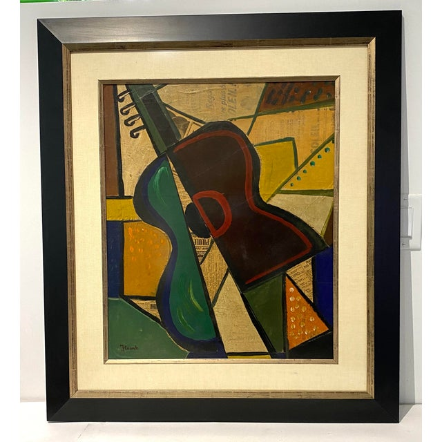 1956 Cubist Guitar J Lacoste Mixed Medium on Board Painting For Sale - Image 12 of 13