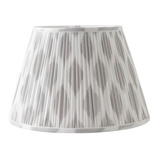 """Signature Ikat in Cashmere 10"""" Lamp Shade, Light Gray For Sale"""