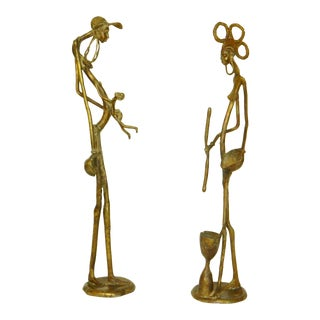 African Sculptures in Bronze - A Pair For Sale