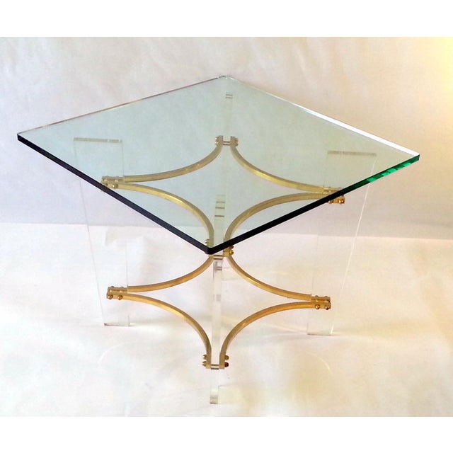 Charles Hollis Jones Vintage 1970's Lucite, Brass & Glass Coffee Table For Sale - Image 4 of 11