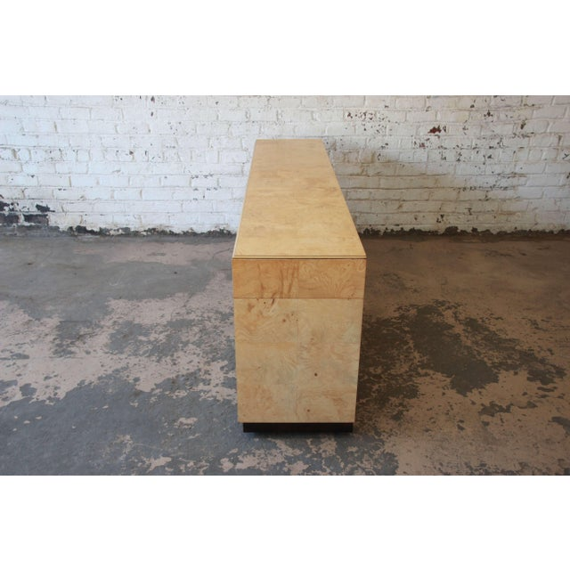Burl Wood Long Credenza or Bar Cabinet by Henredon For Sale - Image 10 of 13