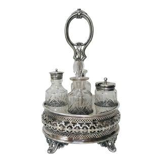 Antique Victorian Silver Plate Crystal Caster Cruet Set For Sale
