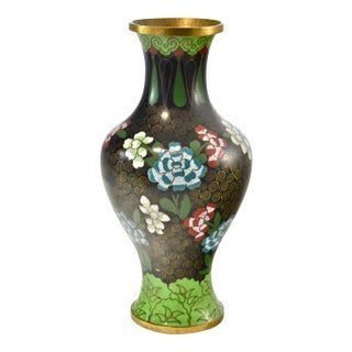 Green & Aqua Cloisonne Vase For Sale