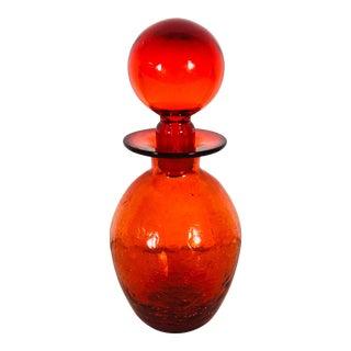 Blenko 1971 Brilliant Red Glass Vessel For Sale