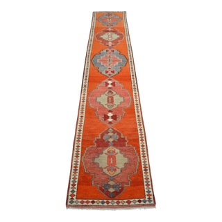 Hand-Knotted Turkish Kurdish Runner Rug. Tribal Low Pile Faded Extra Long Runner 2′11″ × 16′7″ For Sale