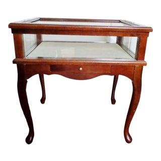Vintage Bombay Company Cherry Mahogany Glass Curio Jewelry Display Case Table For Sale