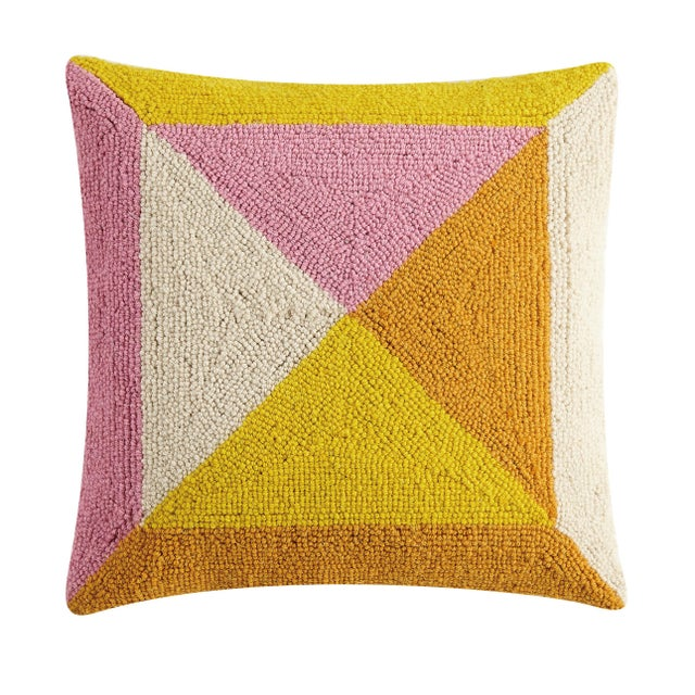 """Contemporary Warm Geometric Square Hook Pillow, 16"""" x 16"""" For Sale - Image 3 of 3"""