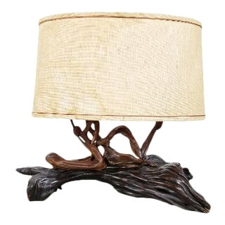 Vintage Mid Century Burlwood Lamp For Sale
