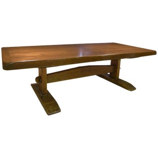 Monumental Long Early American Solid Pine Trestle Farm Table For Sale