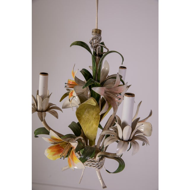 Madcap Cottage Tole Lily 3-Light Chandelier For Sale In Greensboro - Image 6 of 12