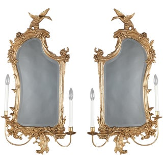 Chinese Chippendale Style Figural Giltwood Phoenix and Foliate Sconces - a Pair For Sale