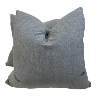 """Fortuny """"Arena"""" Velvet in Concrete 22"""" Pillows - a Pair For Sale"""