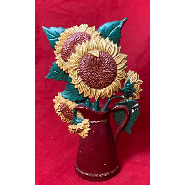 Vintage Mid Century Hand Painted Sunflowers Cast Iron Door Stop For Sale - Image 12 of 12